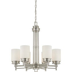 Wright Nickel and Satin White Glass 6-Light Chandelier 