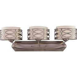 Harlow Bronze and Khaki Fabric Shades 3-Light Vanity Fixture