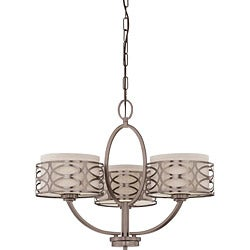 Harlow Bronze and Khaki Fabric Shades 3-Light Chandelier