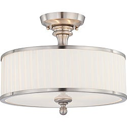 Candice Nickel and Flat Pleated White Shade 3-Light Semi Flush Fixture
