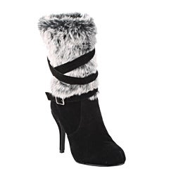 Damita K by Beston Women's 'Amy-08' Black Faux Fur Boots