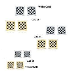 10k Gold 1/4ct/ 1/3ct/ 1/2ct TDW Checker Black and White Diamond Stud Earrings (H-I, I1-I2)