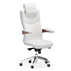 Zuo Chairman White Leatherette Office Chair