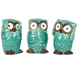 Blue Ceramic Owls Blue (Set of Three)