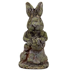 Urban Trend Moss Finish Rabbit Stoneware Decorative Sculpture