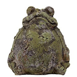 Urban Trend Moss Finish Sitting Frog Stoneware Sculpture