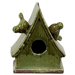 Urban Trend Green Bird Feeder House Ceramic Accent Piece