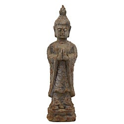 Urban Trend Antique Finish Standing Buddha Cement Sculpture