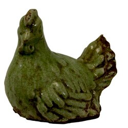 Green Ceramic Chicken Figurine