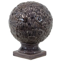 Large Purple Ceramic Flower Globe on Pedestal