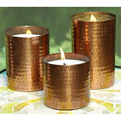 Set of 3 Hammered Copper Finish Uncscented Wax Candles (India)