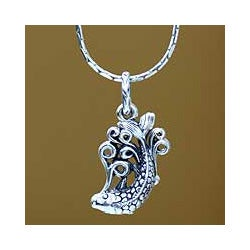 Sterling Silver Men's 'Balinese Koi' Necklace (Indonesia)