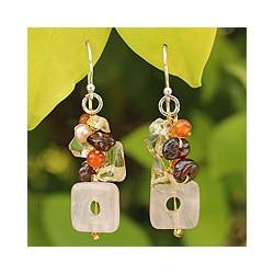 Sterling Silver 'Love' Multi-gemstone Pearl Earrings (4 mm) (Thailand)