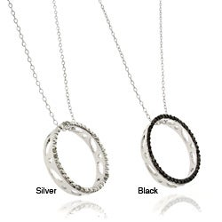 Finesque Silver Overlay Diamond Accent Black or White Diamond Circle Pendant