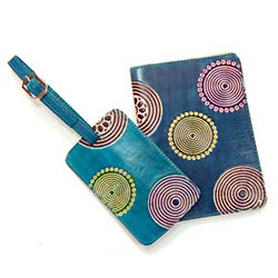 Indian Circle Leather/Brass Luggage Tag & Passport Holder Set