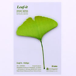 Leaf-it GINGKO Green Sticky Notes (Pack of 20)
