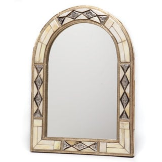 17-Inch x 13-Inch Hand-Carved Bone Mirror (Morocco)