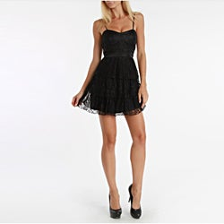 247 Frenzy Juniors Black Spaghetti Strap Lace Dress