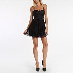 247 Frenzy Juniors Black Spaghetti Strap Lace Dress