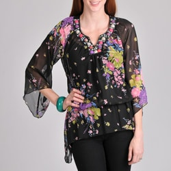 Sunny Leigh Women&#39;s Black Floral Embellished Blouse