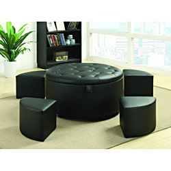 Black Bonded Leather Tufted Round Storage Bench Ottoman 5-piece Set