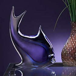 LuckyClover Authentic Murano Glass Purple & Blue Fish