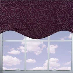 Purple Floral Lined Valance