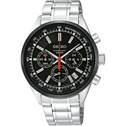 Seiko Men's Stainless Steel Black Chronograph Watch
