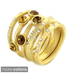 West Coast Jewelry Goldtone Colored Crystal Stackable 5-piece Ring Set