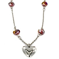 Stainless Steel Heart and Crystal Necklace