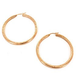 Highly-polished Rose Gold-plated Stainless Steel Hoop Earrings
