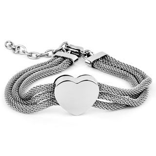 ELYA Designs Stainless Steel Heart Mesh Bracelet