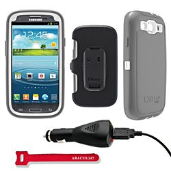 OtterBox Defender Protective Case for Samsung Galaxy S3 S III i9300 - Glacier With Car Charger, Velcro Tie