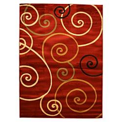 Yalda Red Geometric Rug (5'3 x 7'3)