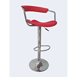 Chrome Red PU 2-piece Bar Stool Set