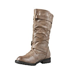Wild Diva by Beston Women's 'Tina-13A' Mid Calf Combat Boots