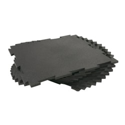 Rubber-Cal Puzzle-Lock Interlocking Rubber Flooring Black Tiles