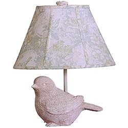Garden Song Bird White Resin Table Lamp