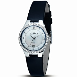 Skagen Women's Black Leather Strap Watch