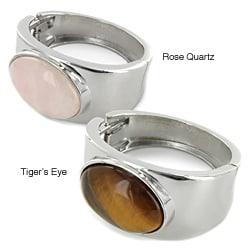 West Coast Jewelry Silvertone Large Oval Natural Gemstone Hinged Bracelet