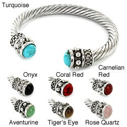 Silvertone Natural Gemstone and High-polish Metal Bangle Bracelet