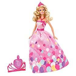Barbie Birthday Princess Doll in Colorful Balloon Printed Gown Set
