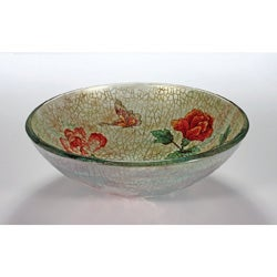 Legion Furniture Rose/ Butterfly Glass Bowl Vessel Bathroom Sink