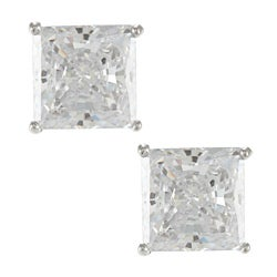 Sunstone 925 Sterling Silver Square-cut Solitaire Earrings Made with SWAROVSKI ZIRCONIA