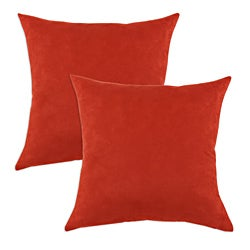 Passion Suede Tomato Red Simply Soft S-backed Fiber Pillows (Set of 2)