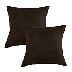 Passion Suede Espresso Simply Soft S-Backed Fiber Pillows (Set of 2)