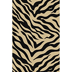 Animal Prints Zebra Black Non-Skid Area Rug (6'6 x 9'2)