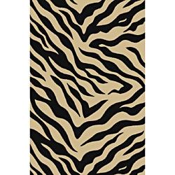 Animal Prints Zebra Black Non-Skid Area Rug (6'6 x 9'2)
