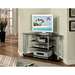 K&B Sliver-Chrome & Black Corner TV stand