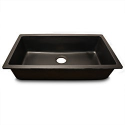 Highpoint Collection Single Bowl Granite Composite Undermount Kitchen Sink in Black